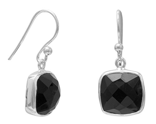 (Sterling Silver French Wire Earrings, 10mm Square Faceted Black Onyx, 5/8 in)