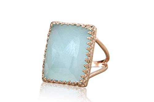 Anemone Jewelry Feminine Aqua Chalcedony Ring - Rectangular 14K Rose Gold Ring With 14CT AA Gemstone - Free Gift Ring Box Included [Handmade]