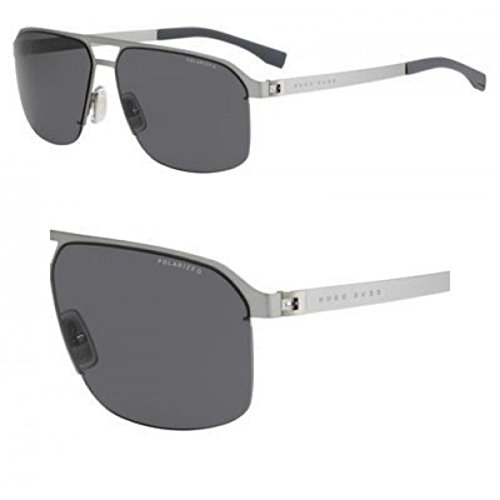 (BOSS by Hugo Boss Men's B0839s Rectangular Sunglasses, Matte Ruthenium/smoke Polarized, 61 mm)