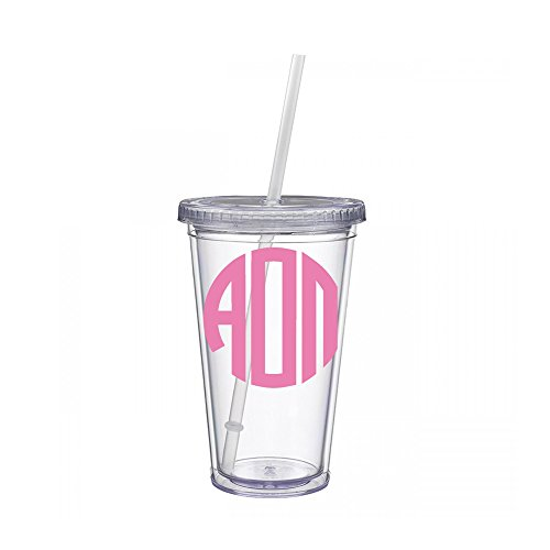 Alpha Omicron Pi Sorority Pink No Border Monogram Sticker Decal on Clear plastic Tumbler Greek Letter 16 oz. BPA Free aoii