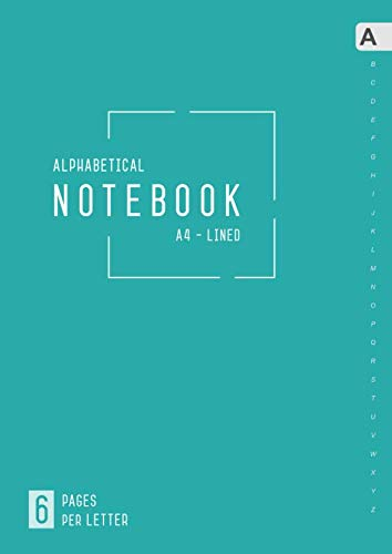 Alphabetical Notebook A4: 6 Pages per Letter | Lined-Journal Organizer Large with A-Z Tabs Printed | Smart Design Teal
