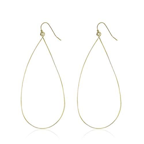 (Pomina Lightweight Open Metal Teardrop Earrings (Gold-Thin wire))