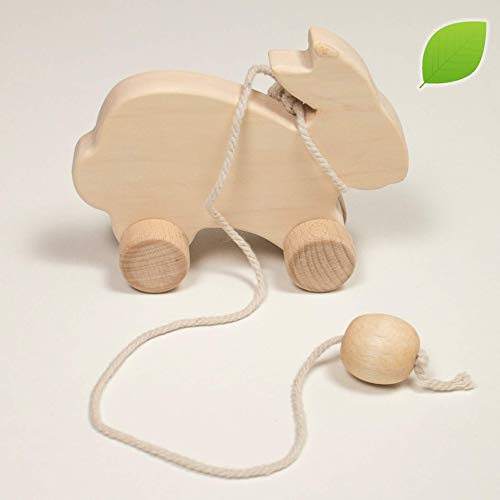Wooden Rolling Rabbit push toy with a rope by LanaCrocheting – Untreated Natural Wood – Wooden pull animal - Montessori - Waldorf toy. Baby gift . Handmade in Eastern Europe. Animals toy Baby