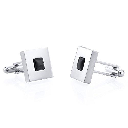 Mirror Finish Onyx Inlay Square Titanium Mens Cufflinks (Onyx Square Cufflinks)