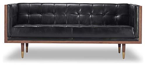 (Kardiel Woodrow Midcentury Modern Box Loveseat, Black Aniline Leather/Walnut)