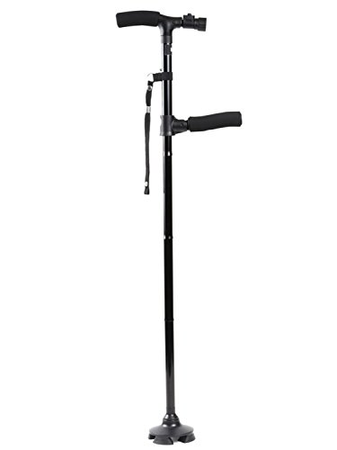 [보행보조재활지팡이]Hizak 접이식 지팡이 스틱 자립 식 4 점 지팡이 세련된 LED 라이트 탑재 남녀 겸용 「경량 튼튼한 신축성있는 더블 핸들 보조 핸들 보행기구」 「5 단계 조절 가능 넘어지지 미끄럼 제동 예비 배터리 수납 가방 스트랩 포함 (68cm-78cm) /84-94cm / 교환 고무 나사4개