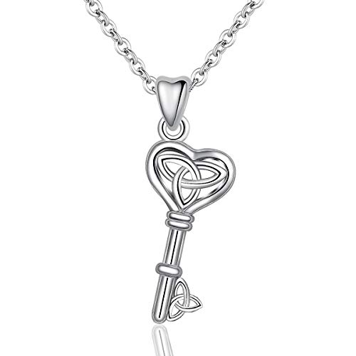 INFUSEU Celtic Knot Good Luck Key Pendant Necklace Sterling Silver Love Heart Trinity Jewelry for Women