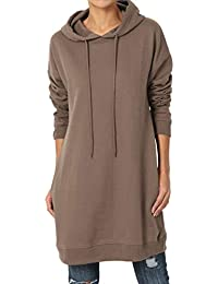 S~3X Basic Loose Fit Pocket Pullover Hoodie Long Tunic...