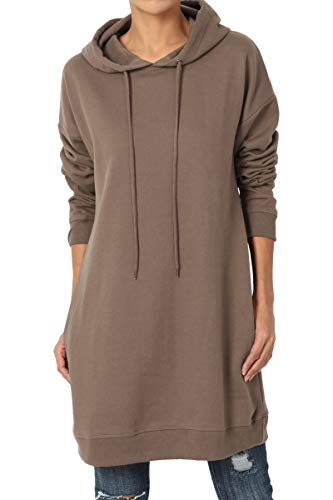 TheMogan Women's Hoodie Loose Fit Pocket Tunic Sweatshirts Mocha S/M - Hooded Top