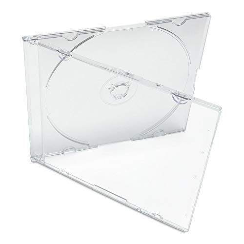 KEYIN Clear Slim CD Jewel Case - Premium, 100 Pack (Jewel Cases)