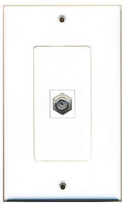 RiteAV - 1 Coax Cable TV Port Wall Plate White Decorative