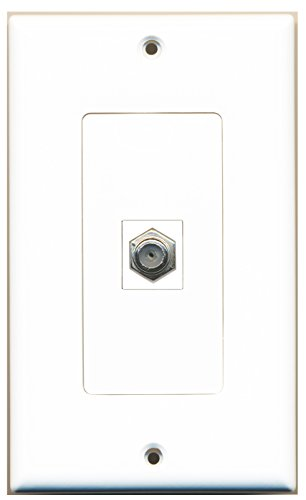 RiteAV - 1 Coax Cable TV Port Wall Plate White ()