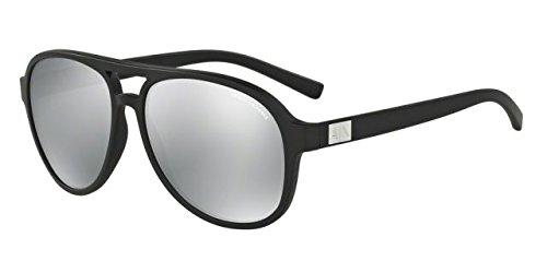 Armani Exchange Mens Sunglasses (AX4055) Black Matte/Silver Plastic - Polarized - 58mm