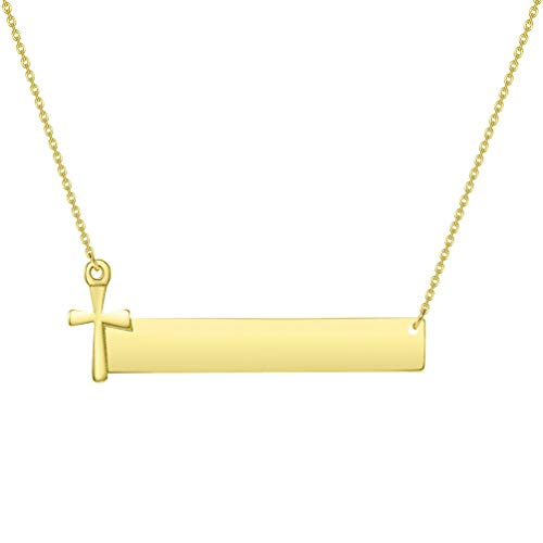 Solid 14k Yellow Gold Engravable Personalized Bar with Religious Cross Necklace (Adjustable Chain 16