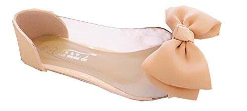 2014 neue sommer süß Frauenebenen, wies Pailletten Fuß mit großem bowtie Schuhe rosa