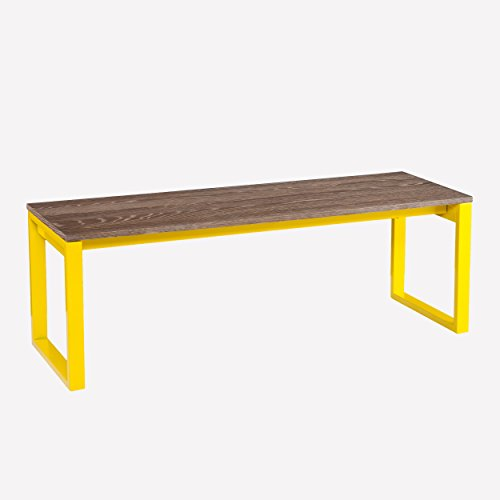 Contemporary Beckett Bench Sporting Two-Tone Burnt Oak And Citrine (16 inches high x 46 inches wide x 16 inches deep). It Supports up to 250 pounds