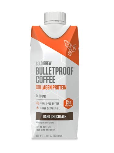 Bulletproof Cold Brew Coffee Plus Collagen, Keto Friendly, Sugar Free, with Brain Octane oil and Grass-fed Butter, (Dark Chocolate) (12 ()