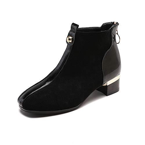 Qiusa High Heels Dick mit Martin Stiefeln Kurze Stiefel Stiefel Stiefel Windwildleder runder Kopf mit dicken und weiblichen (Farbe   38 Größe   Schwarz) 6bd755