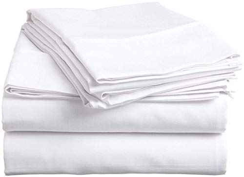 Way Fair Sheet Set Twin Extra Long Size White Solid 100% Cotton 600 Thread-Count (15