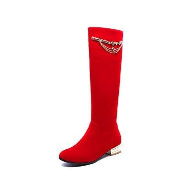 Inverno Mid da tacco carriera moda 5 piatto pelle CN40 in Comfort Toe Scarpe Round Stivali Calf Autunno per UK6 US8 Nubuck donna Stivali 5 RTRY vestire Office rivetto EU39 stivali amp; Tq507wS