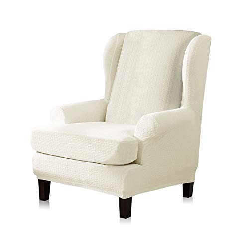 TIKAMI Wing Chair Slipcovers 2-Piece Spandex Stretch Wingback Chair with Arms Sofa Furniture Protector Covers - White Chair With Slipcover Arm