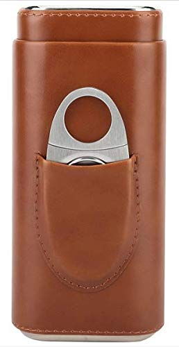 Santoll 3- Finger Brown Leather Cigar Case, Cedar Wood Lined Cigar Humidor with Silver Stainless Steel One