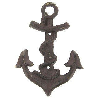 Aunt Chris' Products - Cast Iron Anchor - Rustic Bronze Color Finish - Hangs By A Loop Hook On Back - Use Indoor Or Outdoor