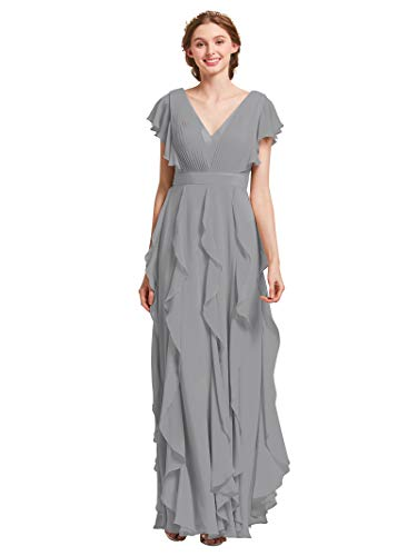 (AW Bridal Plus Size Bridesmaid Dresses for Women Formal Dresses with Sleeves Chiffon Long Gowns and Evening Dresses, Dove, US18 )