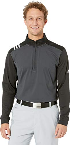 adidas Golf Men's 3-Stripes 1/4 Zip Carbon/Black -