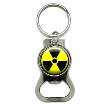Graphics and More Radioactive Nuclear Warning Symbol Bottle Cap Opener Keychain (KB0014)