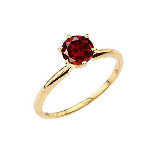 Yellow Gold Genuine Garnet Ring - Enchanting Genuine Garnet Solitaire Engagement/Proposal Ring in 10k Yellow Gold (Size 7.75)