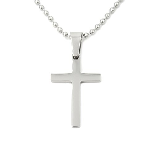 Stainless Steel Simple Small Silver Color Cross Pendant Necklace 30mm (Brushed Cross Pendant)