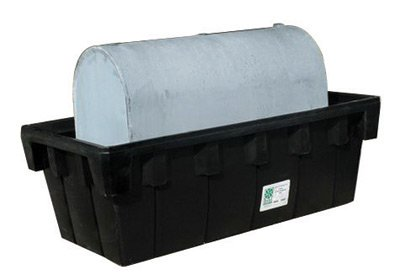 "UltraTech 84 1/2"" X 43 3/4"" X 29"" Ultra-275 Containment Sump Black Polyethylene Spill Containment Sump With 360 Gallon Spill Capacity And Drain For 275 Gallon Oval Tank"