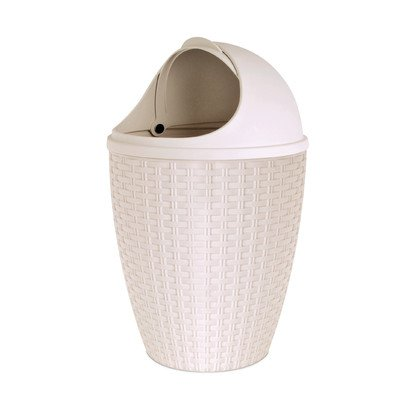 - 1.88-Gal Round Roll Up Trash Can Color: Beige
