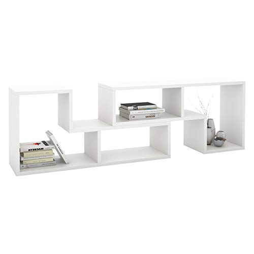 Cabinet Silver Bookcase - DEVAISE Versatile TV Stand, Entertainment Center Console, Bookshelf for Living Rooms, White