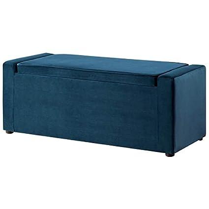 Wondrous Amazon Com Posh Living Jake Blue Velvet Storage Bench Bralicious Painted Fabric Chair Ideas Braliciousco