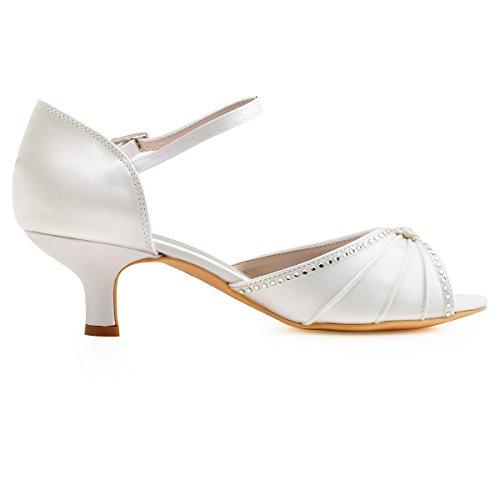 ElegantPark HP1623 Peep toes abrochan los zapatos de novia de satén tacón bajo las sandalias Marfil