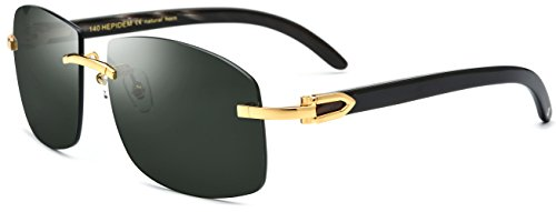 HEPIDEM Buffalo Horn Handmade Sun Glasses Square Rimless Luxury Sunglasses 0816 (black, 53)