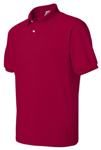 Stedman By Hanes Blended Jersey Sport Shirt, Deep Red , (50 Blended Jersey Polo)