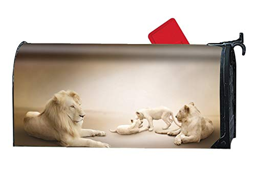 XPNiao White Lion Mailbox Makeover - Customized Magnetic Mailboxes Wrap - Lion Planter