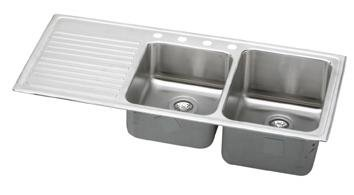 (Elkay ILGR4822R2 Gourmet Lustertone Double Bowl Sink with Two Holes and Left Ribbed Area, Stainless Steel)