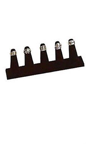 (5-Finger Black Velvet Ring Display - 8