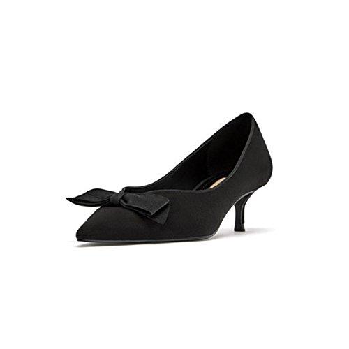 Mesdames Bow Low Heel Womens Pointu Toe Cour Escarpins Chaussures en Satin De Mariage Formal Comfy Slip sur La Taille De La Chaussure Black