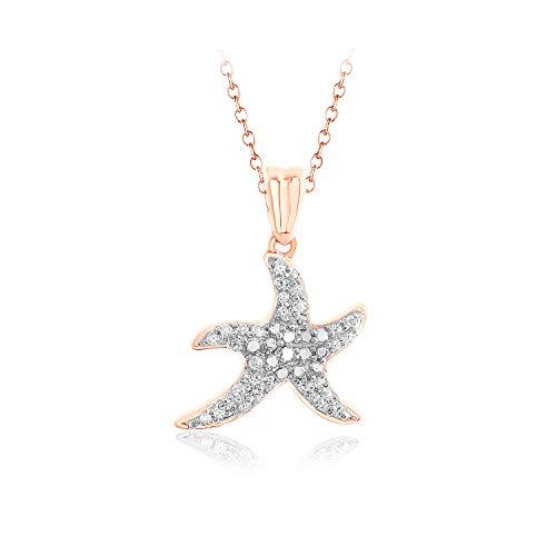 1/8 Ct Round Natural Diamond Starfish Pendant Necklace 16