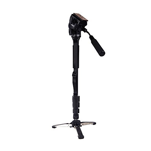 Yunteng VCT-288 Photography Tripod Monopod WIth Fluid Pan Head Quick Release Plate And Unipod Holder for Canon Nikon DSLR Cameras by VCT