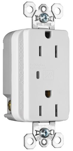 (Legrand - Pass & Seymour 5252WSPCC6 Transient Voltage Surge Suppressor Commercial Grade Receptacle 15-Amp 125-volt, White)