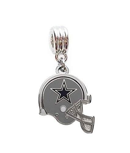 Dallas Cowboys Charm Football Helmet Team Charm Slide Pendant for Your Necklace European Charm Bracelet (Fits Most Name Brands) DIY Projects ETC