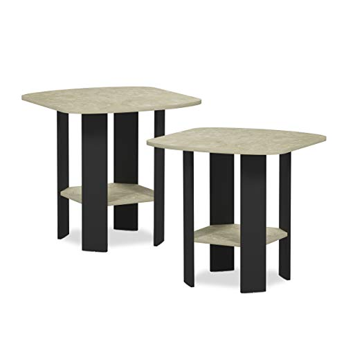 Furinno 2-11180CRM Simple Design 2-Pack End Side Table, Cream Faux Marble/Black ()