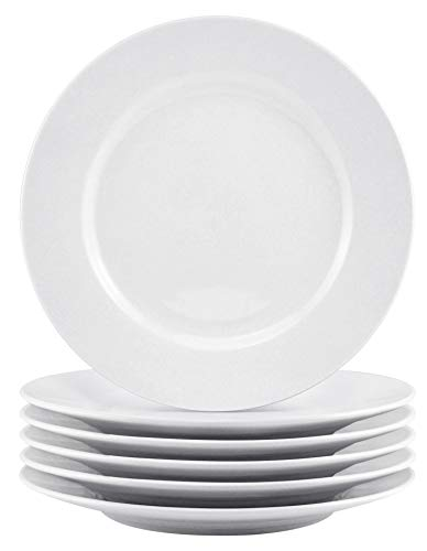 Bestone 6-Piece Porcelain Salad Plates, 8 Inch, Classic Round and White with Wide Rim, Dishwasher, Microwave, Freezer, Oven Safe, BPA-Free for Everyday Use ()