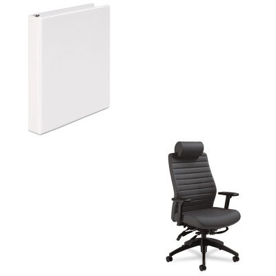 KITGLB28503SO47UNV20962 - Value Kit - Global Aspen Series Executive Back Multi-Tilt Chair w/Headrest (GLB28503SO47) and Universal Round Ring Economy Vinyl View Binder (UNV20962)